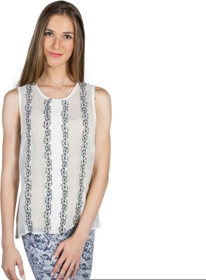 My Addiction Casual Sleeveless Embroidered Women's White Top