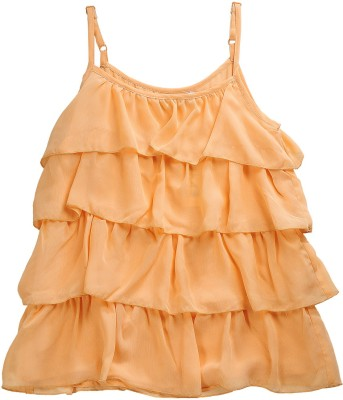Kami Casual Sleeveless Solid Girl's Orange Top