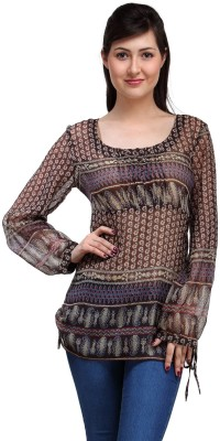 Eves Pret A Porter Casual Full Sleeve Printed Women's Multicolor Top