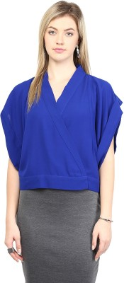 Rare Party Cape Sleeve Solid Women's Blue Top