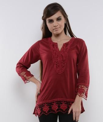 U&F Casual 3/4 Sleeve Solid Women's Maroon Top
