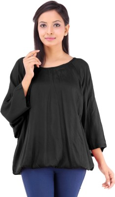 Inblue Fashions Casual 3/4 Sleeve Solid Women's Black Top