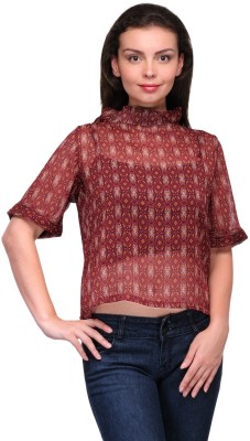 Zachi Casual Short Sleeve Printed Women's Maroon Top
