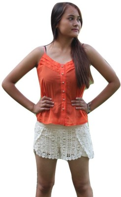 La Chic Pick Casual, Beach Wear Sleeveless Solid Girl's Orange Top