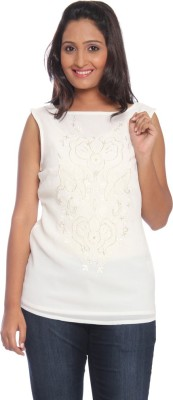 Park Avenue Formal Sleeveless Printed Women's White Top