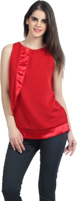 Mineral Casual Sleeveless Solid Women's Red Top