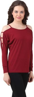 Texco Casual Full Sleeve Solid Women's Maroon Top at flipkart