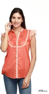 Guapa Spain Casual Sleeveless Embroidered Women's Orange Top