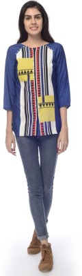 Desi Belle Casual Sleeveless Printed Women's Blue Top