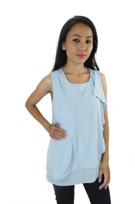 ShopMore Casual Sleeveless Solid Women's Blue Top
