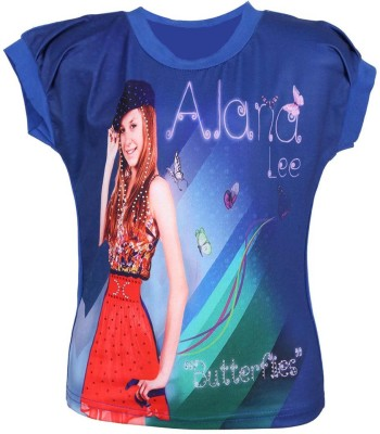 LEI CHIE Casual Short Sleeve Printed Girl's Blue Top