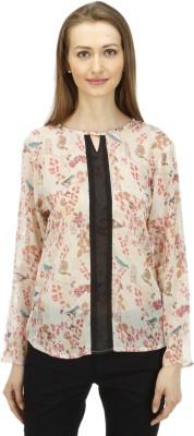 1OAK Casual Full Sleeve Printed Women's Beige Top