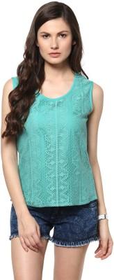Abiti Bella Casual Sleeveless Embroidered Women's Green Top
