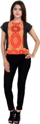 LA VERVE Casual Short Sleeve Printed Women's Multicolor Top