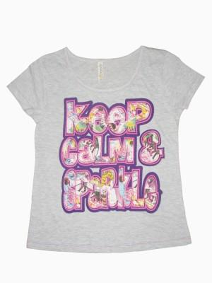 Hoodz Casual Short Sleeve Applique Girl's Grey Top