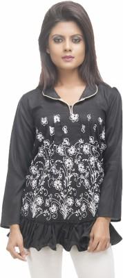 Retaaz Casual, Party, Festive Full Sleeve Floral Print Women's Black, White Top