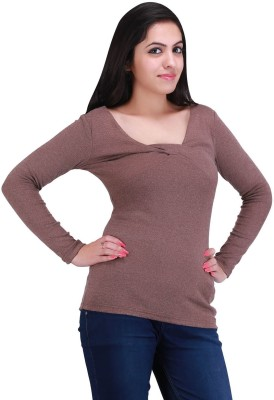 Nirosha Casual Full Sleeve Solid Women's Brown Top