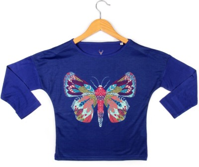 Allen Solly Casual Full Sleeve Graphic Print Girl's Blue Top