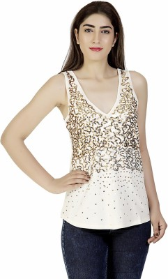 Gudi Party Sleeveless Embellished Women's Beige Top
