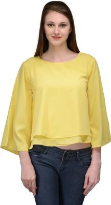 Natty India Casual Kimono Sleeve Solid Women's Yellow Top