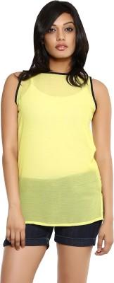 Indiwagon Casual Sleeveless Solid Women's Yellow Top at flipkart
