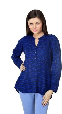 Lqqke Casual Full Sleeve Printed Women's Dark Blue Top