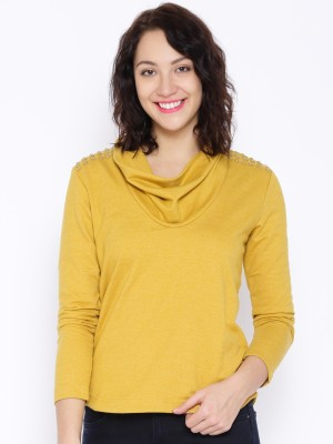 Noble Faith Casual Full Sleeve Solid Women's Yellow Top