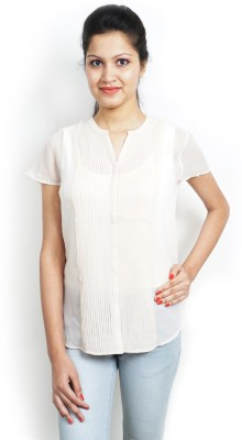 Bay & Blue Casual Short Sleeve Solid Women's White Top