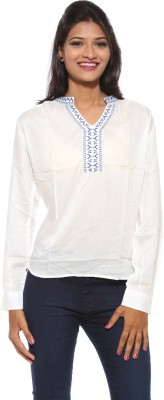 Pepe Casual Full Sleeve Solid Women's White Top