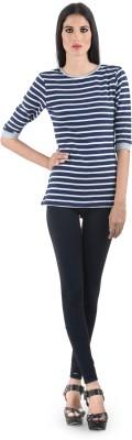 The Clove Casual 3/4 Sleeve Striped Women's Dark Blue Top