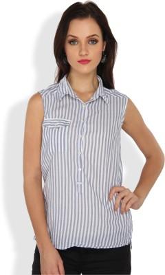 Ten on Ten Casual Sleeveless Striped Women's Grey, White Top