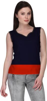 Avya Casual Sleeveless Solid Women's Blue Top
