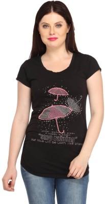 Snoby Casual Short Sleeve Printed Women's Black Top