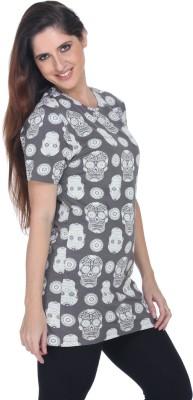 Fast n Fashion Casual Short Sleeve Printed Women's Grey Top