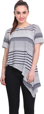 Rena Love Casual Short Sleeve Striped Women's Blue Top