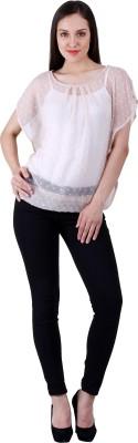 Selfiwear Casual Short Sleeve Printed Women's Beige Top