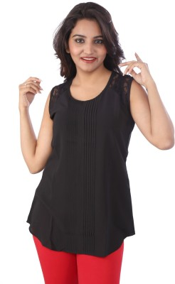 Go4it Casual, Party Sleeveless Solid Women,s Black Top