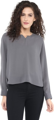 C2 Casual Full Sleeve Solid Women's Grey Top
