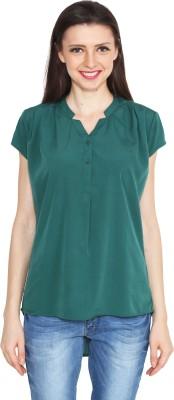Eva De Moda Casual Cap sleeve Solid Women's Dark Green Top