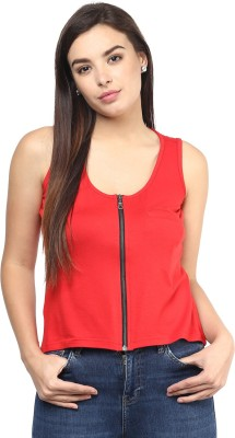 Rockland Life Casual Sleeveless Solid Women's Red Top