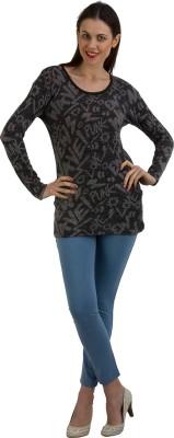 GUDS Casual Full Sleeve Printed Women's Grey, Black Top