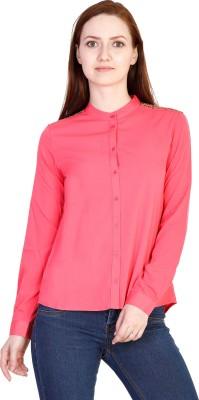 Coffee Bean Casual Full Sleeve Self Design Women's Pink Top