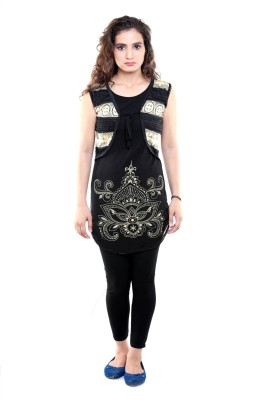 Sea Lion Casual Sleeveless Embroidered Women's Black, Beige Top