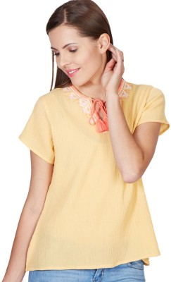 American Swan Casual Short Sleeve Solid Women's Yellow Top