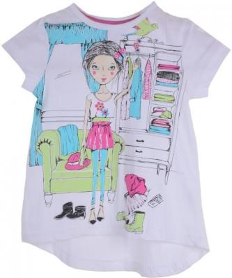 Joy N Fun Casual Short Sleeve Printed Girl's White Top
