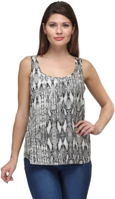 FW Collection Casual Sleeveless Printed Women,s Grey Top