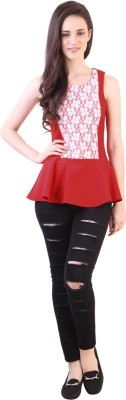 Vvine Party, Casual Sleeveless Solid Women's Red Top