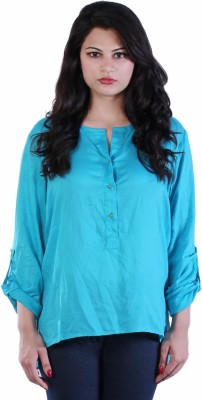 James Scot Formal Full Sleeve Solid Women's Blue Top
