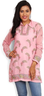Kasturi-B Swadeshi Karigari Casual Full Sleeve Embroidered Girl's Pink Top