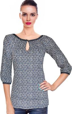 BeforeAfter Casual 3/4 Sleeve Geometric Print Women's Dark Blue Top
